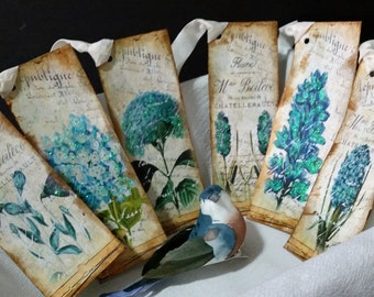 Blue Flower Bookmarks (Set of 6)/Vintage Inspired/Wedding/Shower/Diary/Writing/Reading/Scrapbooking/Reference