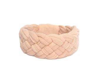 Pink Braided Bracelet, Peach Jewelry, Pink Cuff Bracelet, Urban Chic, Fabric Bracelet, Spring Summer Accessories, Gift for Girlfriend
