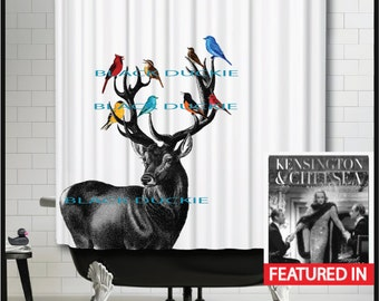 Deer Shower Curtain - stag colorful birds cardinal red blue yellow bathroom shower curtain