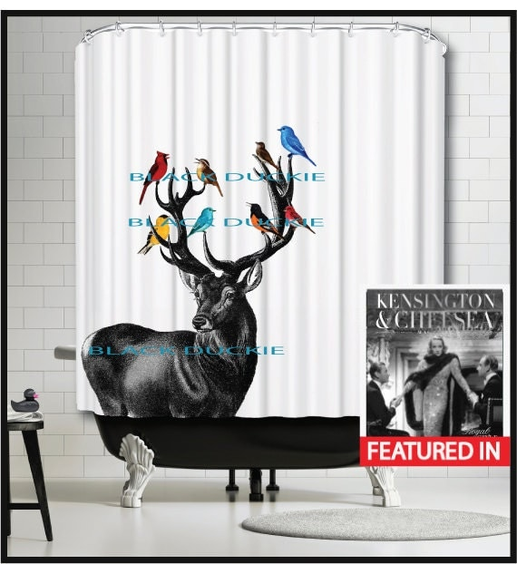 Deer Shower Curtain Stag Colorful Birds Cardinal Red Blue