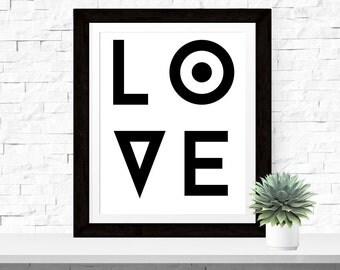 Typographic Print 'Love' Wall Art Minimal Art Modern Love Quote Romantic Quote LOVE Scandinavian Design Modern Typography Black White Decor