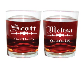 Bride and Groom Whiskey Glasses Personalized  Engraved Set Of 2 Custom Etched Made To Order Wedding Party Engagement Gift