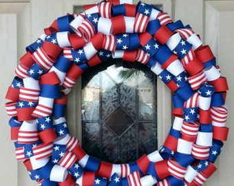 4th of July wreath, Memorial day wreath, holiday wreath, USA wreath, stars and stripes wreath, stars and stripes, patriotic wreath
