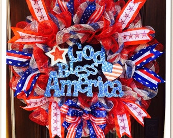 Patriotic wreath! Memorial day wreath, 4th July wreath, Labor day wreath,