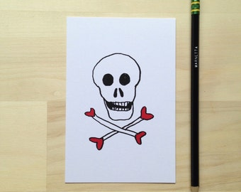 Skull and Heart-bones Postcards (set of six)