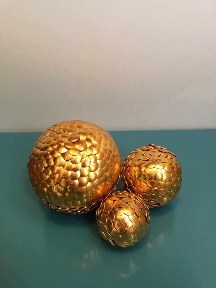 Gold vase filler shelf decor ball by