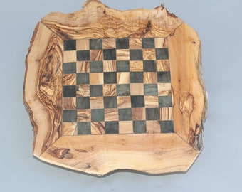 Rustic Olive Wood Chess Set, Wooden Chess Set Game, Personalized Chess Board, Dad gift
