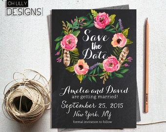 Save the Date Printable, Chalkboard Save the Date, Rustic Save the Date Printable, Floral Save the Date, Wedding Save the Date