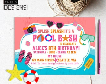 Pool Party Invitation, Kids Pool Party Invitation, Pool Invitation, kids pool party, Pool birthday, Birthday Invitation Printable