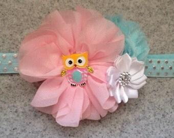 Pink owl headband, pink and blue owl first birthday headband