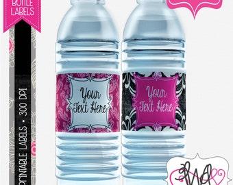 EDITABLE INSTANT DOWNLOAD: Hot Pink and Black Damask Water Bottle Labels