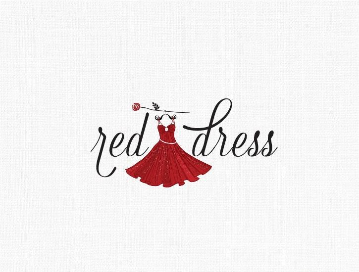 Custom Fashion Dress Logo Design Red Dress
