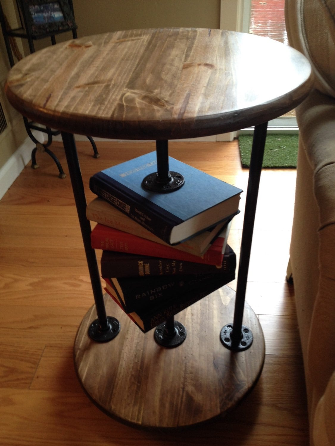 book lovers ii round industrial end table side table. Black Bedroom Furniture Sets. Home Design Ideas