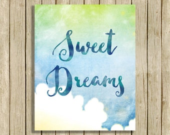 Nursery art print Sweet Dreams quote wall art printable blue nursery wall decor digital downloadable poster babies room sky art print