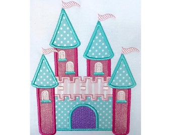 "Castle applique machine embroidery design- 3 sizes 4 x 4"", 5 x 7"" and 6 x 10"""