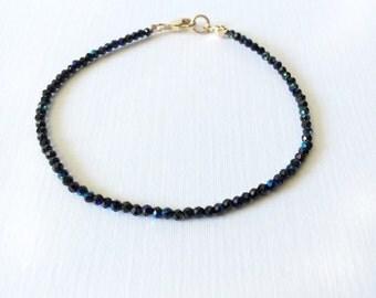 Fire spinel bracelet / fire black spinel / summer bracelet / stacking bracelet