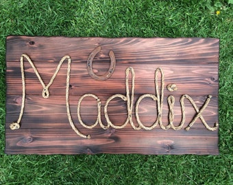 "32"" Western wood rope name sign, western decor, baby shower gift,wedding gift,country western decorations,photo prop,cowboy theme nursery"