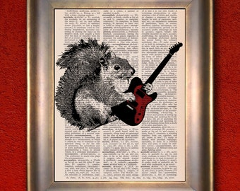 Dictionary Print: Squirrel on Guitar, Wall Decor, Recycled Dictionary Paper, Birthday Gift,  ZRP9096