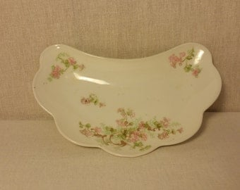 Vintage Limoge French Bone Plate with Pink Flowers