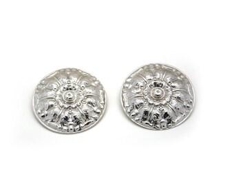 Vintage earrings. Pierced ears. Round earrings. Retro jewelry