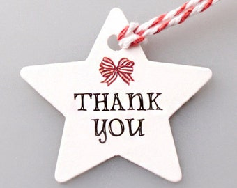 10 x Thank you tags / Thank You White Star Tags / Wedding Favors / Hang Tag / Gift Tag / Wedding Tag / Wedding Shower Favors / Tag favors /