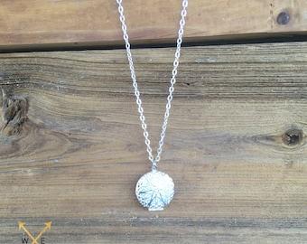 Essential Oil Diffuser Necklace, 27mm, Matte Silver