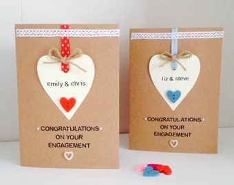 Congratulations On Your Engagement Personalised Card - Handmade Engagement Card - Personalised Engagement