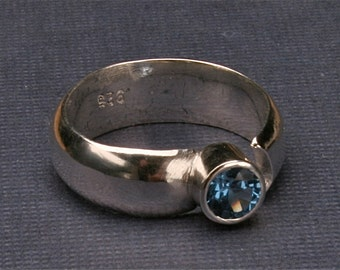 gifts for her, Gifts for Women,Silver faceted ring, silver ring, blue faceted stone, argentium silver ring