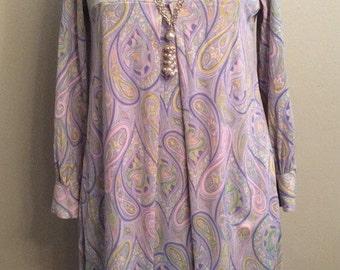 Sale!Vintage Mid Century Mod Paisley Empire Waist Pleated Polyester Dress