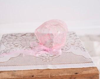 SALE Pink Newborn Lace Bonnet / Newborn Photography Prop /  Pink Lace Tulle Bonnet