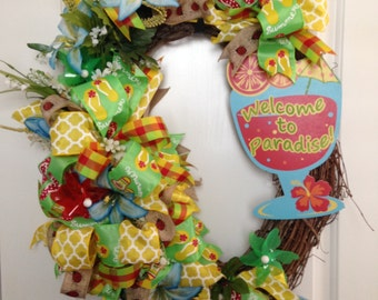 Summer Fun Oval Wreath - Welcome to Paradise - Flip Flops, Ladybugs, Pinwheels