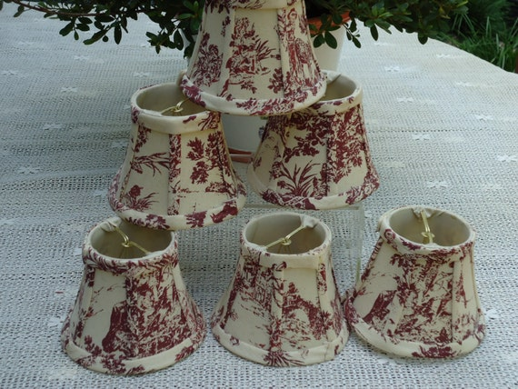 Toile French Country Red And Cream Chandelier Lamp Shades Set