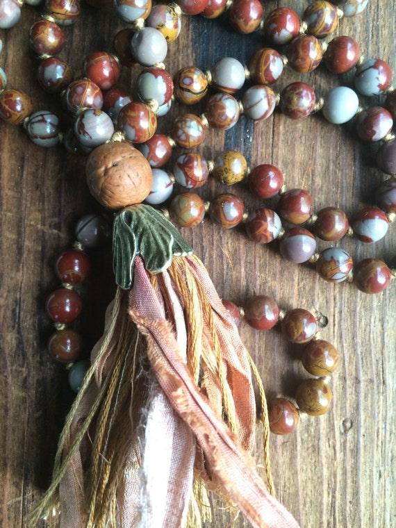 108 Mala Bead Necklace With Australian Noreena Red Jasper