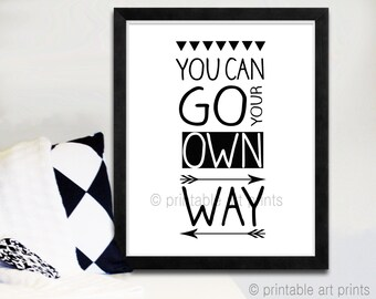 You can go your own way printable artwork. Digital print fleetwood mac song lyrics. Nursery art print, monochrome print, nursery decor