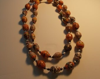 Brown & Orange Large Paper Bead Necklace