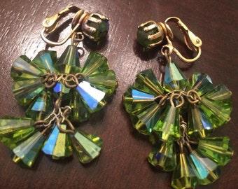 Green 1950s crystal dangle earrings