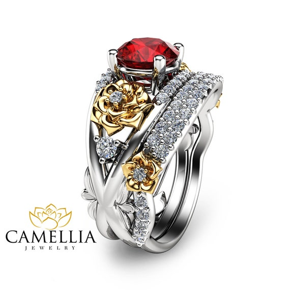 Floral Ruby Engagement Ring Set 14k Two Tone Gold Rings