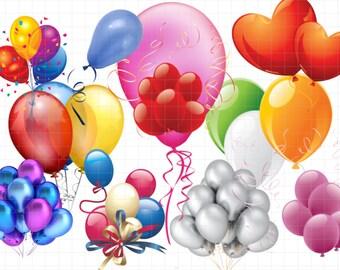 Clipart balloons - PNG Digital Clip Art, Scrapbook, Invitation,... Instant Download - printable