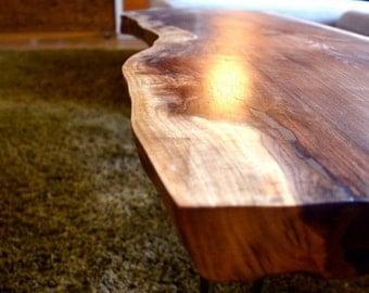 Rustic Black Walnut Live Edge Coffee Table
