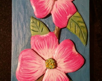 Painted Carved Wooden Dogwood Portrait 8x4