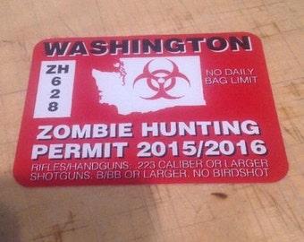 Washington Zombie Hunting Permit Decal