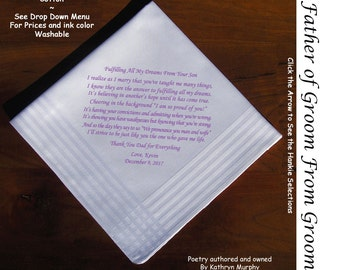 Father of the Groom Gift Hankie From Groom 0807  Sign and Date for Free!  8 Ink Colors ~ FOG Hankie from his son