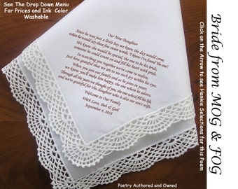 Gift for the Bride Hankie From Grooms Parents   0602A Sign & Date Free!  5 Wedding Hankerchief Styles and 8 Ink Colors. Bride Wedding Hankie