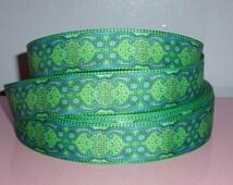 "Green & blue floral geometric 7/8"" grosgrain ribbon, bohemian ribbon lot of 5 yards, floral ribbon lot!"