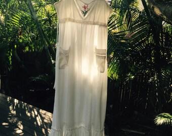 Vintage 70s Edwardian maxi dress