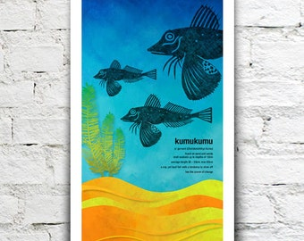 Kumukumu illustration print – New Zealand native fish series. 2 sizes, limited series.