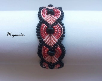 pink and black micromacrame bracelet