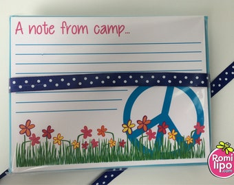 Set of 10 camp note cards with matching envelopes, Summer camp cards, Camp Stationary, Personalized girls Stationary, Personalized cards