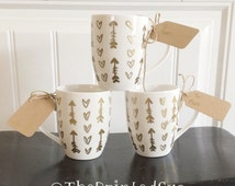 "16 oz Handcrafted Inspirational Coffee Tea Mug "" Gold Hearts & Arrows """
