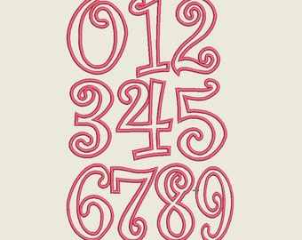 Curlz Applique Numbers Design, Numbers Applique Design, Numbers Applique Download,4 ,5 ,6 and 7 Inch Curls Applique  Font Numbers.